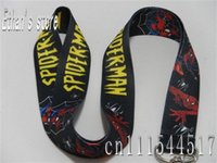 Cheap Wholesale-Cartoon polyester spiderman lanyards   heat transfer printing keychains for party free shipping