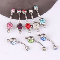 Wholesale Crystal navel bar B10 mix colors fake belly ring body jewelry steel navel ring