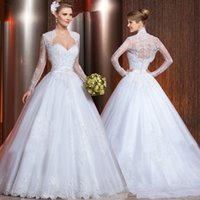 Cheap New Collection Sexy Sweetheart 2015 Wedding Dresses With Jacket Applique Beaded Lace Organza A Line Bride Gowns With Long Sleeve Custom Made