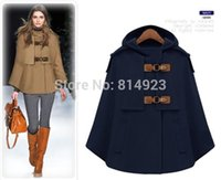 Wholesale new winter fashion simple double breasted woolen shawl collar hooded cape coat