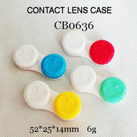 contact case - CB0636 mini cartoon head colorful contact lens case small colors cap contact lens boxes