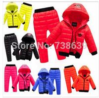 Wholesale 2014 New children boys girls winter clothing suit set baby child Sports warm down jacket pants sets suits Children s suit jacket