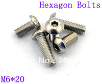 Wholesale 100pcs Metric Thread M6 mm Stainless Steel inside Round Hexagon Bolts Screws A3
