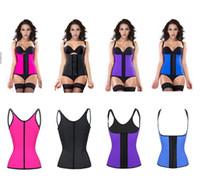 blue corset - XS XL Colors Shoulder Straps Waist Trainers Latex Sport Waist Cincher Vest Rubber Steel Boned Waist Trainer Corset Shapewear