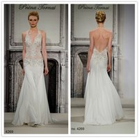 Wholesale 2015 Pnina Tornai Backless Mermaid Wedding Dresses Halter Lace Applique V Neck Sleeveless Sweep Train Chiffon Beads Bridal Gown