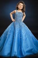 beauty hands beautiful - Custom Blue Beautiful Girls Pageant Dresses Ball Gown Beaded Crystal Beauty Queen Dress Flower Girls Dresses Junior Formal Dress