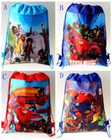 Wholesale 4 styles big hero drawstring bags cartoon children handbags kids schoolbags snacks bags for baby child shopping bag backpacks