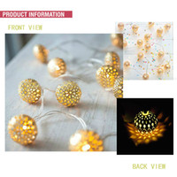 christmas decoration light - 20pcs m Golden Metal hollow out Ball LED Light String Fairy Lamp Party Wedding Christmas Decorations Holesale