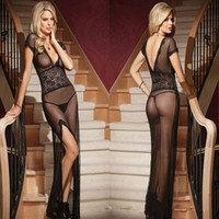 Wholesale w1023 White Black Sexy Deep V Long Lace Night Gown Sheer YranSparent Dress Evening Nightgown Nightie Sleepwear Lingerie For Women