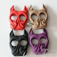 Wholesale 2016 Self Defense Key Chain ring Dog head novelty Skull Shaped Personal Security defend Women Self defense Keychains Keychain