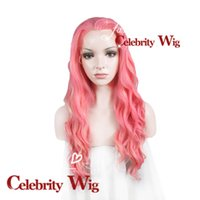 Wholesale Halloween Special Extra Long Wavy Pink Mixed Blonde Beauty Sexy Synthetic Lace Front Wig Party Cosplay Wig N6 T1920