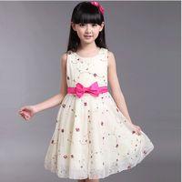 korea fashion - New Summer Fashion Korea Version Girls Kids Children Beautiful Flower Pattern Long princess dresses with pink bowknot belt