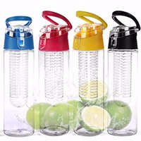 plastic water bottle sports - ML Fruit Infusing Infuser Water Sports Health Lemon Juice Bottle Flip Lid New