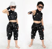 children dance costumes - children hip hop performers jazz dance clothes costumes for boys and girls dance star new paint leather clothes dress latin fringed