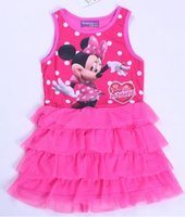Cheap Baby girls minnie mouse dress 2014 infant toddlers 1-4y cotton vest top summer cartoon clothing girl layered pink tutu dresses Christmas