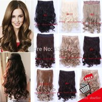 Wholesale Synthetic Clip in Hair Extensions Heat Resistant Fiber Clips Hairpiece Curly Wavy inches cm grams Colors A5