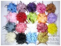 Wholesale bride peony Feather flower corsage brooch pins fabric female lace clip hair accessories seaside resort beach Wedding dress women jewelry