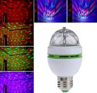 LED de luz de la etapa bola del disco de E27 3W RGB a todo color etapa de proyección de luz de cristal bola mágica DJ dace efecto del disco del partido de la lámpara del bulbo ENVÍO GRATIS