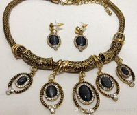 Wholesale natural opal cat s eye Maya vintage gold Chunky Collar earrings necklace sets