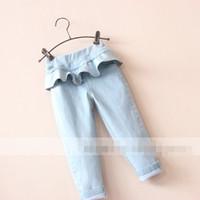 2015 jean Pantalón ajustado de otoño invierno de la niña de Capas Falda pantalón elástico de la cintura de los pantalones de mezclilla faldas Falbala S862M