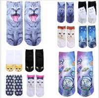 Wholesale 2016 spring colors hot sale men and women unsex new style d printed animal food Crew Socks zx001