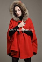 Cheap 2014 fall fashion for women british style cape style coat woolen overcoat fur hooded cape cloak cardigans casual manteau femme