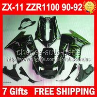 Wholesale Green black gifts For KAWASAKI NINJA ZX11 ZX ZZR ZX11R ZZR1100 ZX Fairing green flames