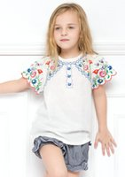 embroidery lace - The Latest Summer Children Girls Clothes Korean Lace Short Sleeve Embroidery National T shirt Kids Girls Fashion Soft Casual T Shirt N0859