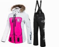 Wholesale New winter TOP brand women ski set ski suit ski snowboard set waterproof fabric B3186 FREE GIFT for hat and gloves