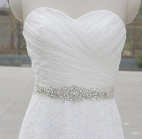 Wholesale New Arrival Crystal Beaded Belt for Wedding white long satin Wedding Accessories bridal Sashes Bow Back Belt for Prom Party Dress