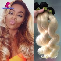 Cheap Real Quality 3Pcs Ombre Blonde Malaysian Hair Weave Bundles Hair Body Wave Dark Roots Blonde Hair Extensions 1B 613 Body Wave