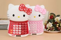 Wholesale Kawaii Hello Kitty Portable Pocket Solar Energy Calculator Digits Electronic Cartoon Calculator Student Prize