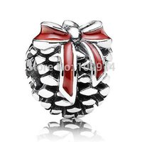 Wholesale Red Bow Pine Cone Charm Sterling Silver European Charms Pandora Bead Fits Snake Chain Bracelets Jewelry
