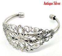 antique filigree brooch - Fashion Jewelry Bangles hot Antique Silver Filigree Flower Bangles Bracelet cm B15699 bracelet brooch