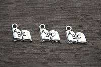abc alphabet book - 50PCS Book Charms Antique Tibetan Silver Tone Alphabet ABC Letter Charm pendants x11mm