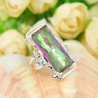 Wholesale Top Quality Trendy Fire Colored Mystic Topaz Gems Sterling Silver Flower Ring Mexico American Australia Weddings Jewelry Gift