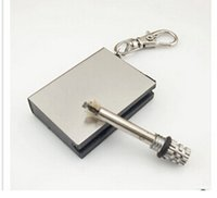 Wholesale Rectangular stainless steel case waterproof Fashion Permanent Match Striker Lighters With Key Chain