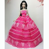 Wholesale 2015 New Fasion Girl Birthday Rose Wedding Gown Dresses Outfit Girl Party For Princess Doll Xmas Gift