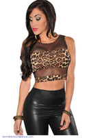 polyester mesh shorts - women tops and blouses new fashion Leopard Print Mesh Accent tans crop top for women High Street blusas femininas Blazers