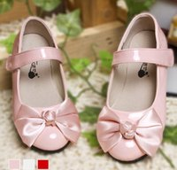 Wholesale Girls Floral Bowknot Shoes Autumn Korean Fashion Childs Magic Tape Princess PU Flats Kids Party Shoes DHL EMS Free Pink White Red M1759