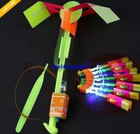 Wholesale 50pcs Amazing led arrow helicopter toys lighting flying toys Novelty Children Toys Funny Slingshot birthday party supplies Kids Gift