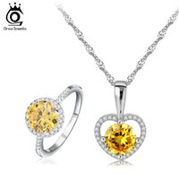 Wholesale New Wedding Jewelry Sets for Brides White Gold Plated Shining Yellow Zircon Ring Necklace Bridal Jewelry Set OS64