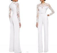 Cheap 2015 New Arrival White Elie Saab Long Sleeves Lace Embellished Jumpsuit Jasmine White Pants Mother's Dresses Evening Dresses Custom Made
