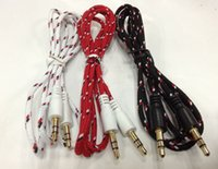 Wholesale Auto Cable mm Stereo Audio AUX Cable Braided Woven Fabric Auxiliary Cords Jack Male to Male for Mobile Phone