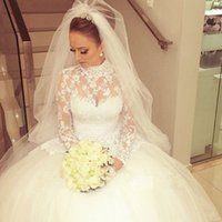 Wholesale Custom Made High Neck Long Sleeve Lace Wedding Dresses With Bow Bridal Gowns Ball Gown Floor Length Buttons Wedding Gowns
