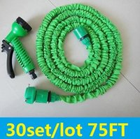Cheap 30sets lots 75FT Expandable Water Hose Garden Water Hose 75FT with Spray Gun Garden Hose Fast Connectornew top 1113#13