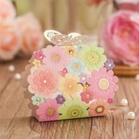 Wholesale 100pcs Wedding Paper Flowers Candy Boxes Wedding Favors Holders Box Bag Chocolate Bag Wedding Gift Candy Boxes High quality