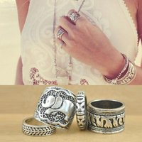 animal totem elephant - New Arrival Vintage Silver Plated Jewelry Ring Band Style Ring Elephant Totem Leaf Sculptured Rings For Women Girls Set R0001