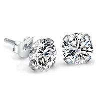 genuine diamond earrings - Christmas Genuine Pure Sterling Silver Imitated Diamond Wedding Engagement Cubic Zirconia Stud Earrings For Women Men Fashion Jewelry