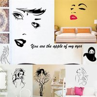 Cheap Sexy Naked girls wall stickers bedroom decoration 8465. woman eyes face lip vinyl adesivo de parede home decal mual art 4.0